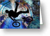 Figures Silhouettes Young Sport Grunge Athletes Greeting Cards - BMX in a Grunge Tunnel Greeting Card by Elaine Plesser