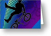 Teenager Tween Silhouette Athlete Hobbies Sports Greeting Cards - BMX in Fractal Movie Marquee Greeting Card by Elaine Plesser