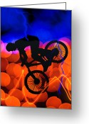Figures Silhouettes Young Sport Grunge Athletes Greeting Cards - BMX in Light Crystals and Lightning Greeting Card by Elaine Plesser