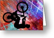 Teenager Tween Silhouette Athlete Hobbies Sports Greeting Cards - BMX on Rusty Grunge Greeting Card by Elaine Plesser