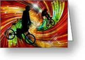 Figures Silhouettes Young Sport Grunge Athletes Greeting Cards - BMXers in Red and Orange Grunge Swirls Greeting Card by Elaine Plesser