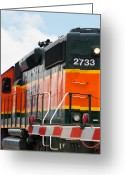 Locomotive Greeting Cards - Bnsf 2733 Greeting Card by Noel Zia Lee