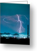 City Lights Greeting Cards - Bo Trek The Lightning Man Greeting Card by James Bo Insogna