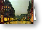 Raining Painting Greeting Cards - Boar Lane Greeting Card by John Atkinson Grimshaw