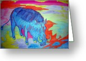 Vibrant Pastels Greeting Cards - Boar Radiation Greeting Card by Leigh Odom