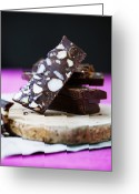 Serving Piece Greeting Cards - Board Of Chocolate With Nuts Greeting Card by Cultura/Line Klein