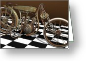 Racer Digital Art Greeting Cards - Board Track Racer Greeting Card by Stuart Swartz