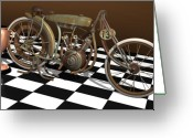Racer Digital Art Greeting Cards - Board Track Racing Motorcycle Greeting Card by Stuart Swartz
