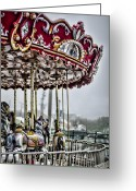 Carosel Greeting Cards - Boardwalk Carousel Greeting Card by Heather Applegate