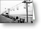 Jersey Shore Greeting Cards - Boardwalk Ride Greeting Card by John Rizzuto