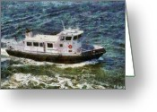 Coast Guard Greeting Cards - Boat - NY - Coast Gaurd Greeting Card by Mike Savad