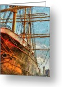 Cargo Greeting Cards - Boat - NY - South Street Seaport - Peking Greeting Card by Mike Savad