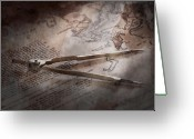 Old Map Photo Greeting Cards - Boat - Sailor - We are ready to sail  Greeting Card by Mike Savad