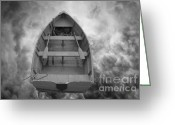 White Greeting Cards - Boat and Clouds Greeting Card by Dave Gordon