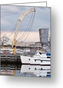David Lade Greeting Cards - Boat and old crane reflections Greeting Card by David Lade