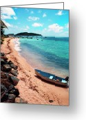 Puerto Rico Greeting Cards - Boat Beach Vieques Greeting Card by Thomas R Fletcher
