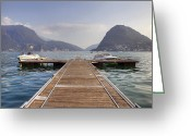 Vacation Destination Greeting Cards - Boat dock on Lake Lugano Greeting Card by Joana Kruse