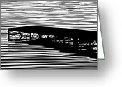 Lake Photographs Greeting Cards - Boat Dock on Sunset Lake Greeting Card by Tam Graff