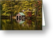 Lake Paradox Greeting Cards - Boat House Greeting Card by David Simons