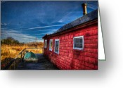Row Boat Mixed Media Greeting Cards - Boat House Greeting Card by Michael Petrizzo