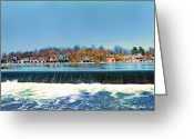 Philadelphia Museum Of Art Greeting Cards - Boat House Row from Fairmount Dam Greeting Card by Bill Cannon