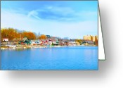 Philadelphia Museum Of Art Greeting Cards - Boat House Row from West River Drive Greeting Card by Bill Cannon