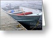 Sadness Greeting Cards - Boat in a fog Greeting Card by Elena Elisseeva