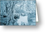 Robbi Musser Greeting Cards - Boat in Blue Greeting Card by Robbi  Musser