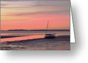 Horizon Over Water Greeting Cards - Boat In Cape Cod Bay At Sunrise Greeting Card by Gemma
