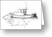 Bay Drawings Greeting Cards - Boat in Casco Bay Greeting Card by Dominic White