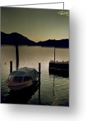 Melancholic Greeting Cards - Boat In Sunset Greeting Card by Joana Kruse