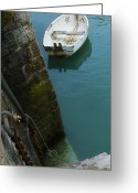 Row Boat Greeting Cards - Boat In The Harbor Greeting Card by Bronze Riser