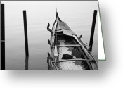 Sunset Posters Photo Greeting Cards - Boat in Venecia Greeting Card by Zarija Pavikevik