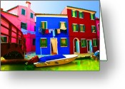 House Pastels Greeting Cards - Boat Matching House Greeting Card by Donna Corless