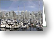 Minard Greeting Cards - Boat Moorage Greeting Card by Vern Minard