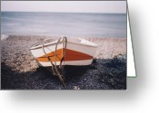Nautical Vessel Greeting Cards - Boat On Pebble Beach Greeting Card by Deborah Leca
