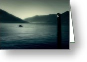 Sea View Greeting Cards - boat on the Lake Maggiore Greeting Card by Joana Kruse