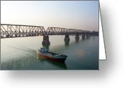On The Move Greeting Cards - Boat Passing From Under Bridge Greeting Card by Manzur Anam Photography