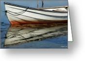 Fyn Greeting Cards - Boat Reflected Greeting Card by Robert Lacy