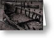 Monochrome Greeting Cards - Boat Remains Greeting Card by Carlos Caetano