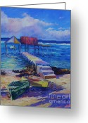 Bay Islands Painting Greeting Cards - Boat Shed and Boats Greeting Card by John Clark