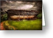 Make Believe Greeting Cards - Boat - The construction of Noahs Ark Greeting Card by Mike Savad