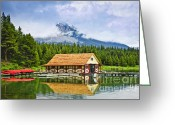 Rockies Greeting Cards - Boathouse on mountain lake Greeting Card by Elena Elisseeva