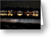 "\""boathouse Row\\\"" Greeting Cards - Boathouse Row After Dark Greeting Card by Bill Cannon"
