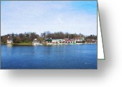 Boathouse Row Philadelphia Greeting Cards - Boathouse Row at the Bend Greeting Card by Bill Cannon