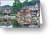 Vintage Greeting Cards - Boathouse Row in Philadelphia Greeting Card by Bill Cannon