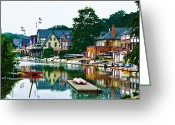 Boathouse Row Greeting Cards - Boathouse Row in Philly Greeting Card by Bill Cannon