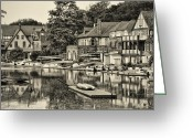 Boathouse Row Greeting Cards - Boathouse Row in Sepia Greeting Card by Bill Cannon