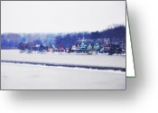 Boathouse Row Philadelphia Greeting Cards - Boathouse Row In Winter Greeting Card by Bill Cannon