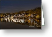 Skylines Photo Greeting Cards - Boathouse Row Greeting Card by John Greim